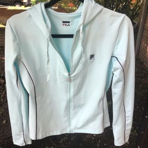 Light Blue Fila track jacket.